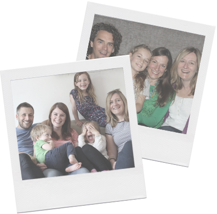Polaroid pictures of Juliette with families